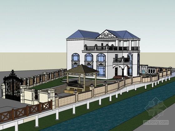 别墅和院子景观设计sketchup模型下载
