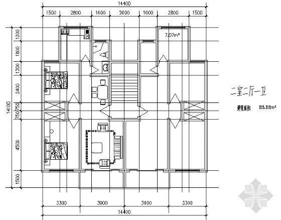 二室二厅一卫1(88.88平方米)