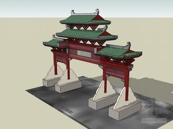 牌坊sketchup模型