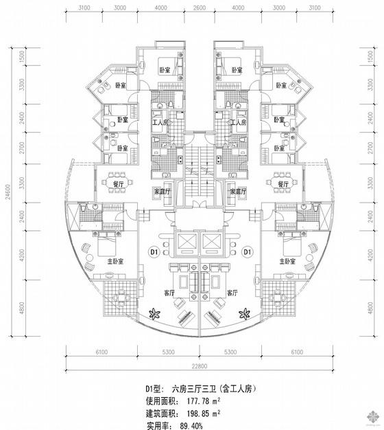 塔式高层一梯两户户型图(199/199)