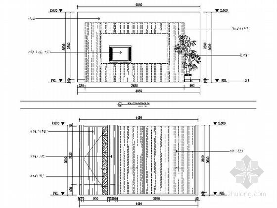 [苏州]水岸社区典雅新中式三层别墅装修施工图客厅立面图