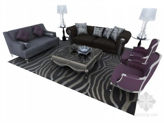 精致欧式沙发3D模型下载