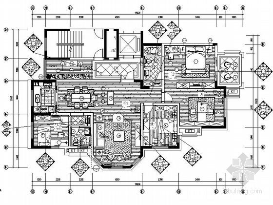 [鹤壁]高档住宅区简欧风格四居室样板装修图(含效果)