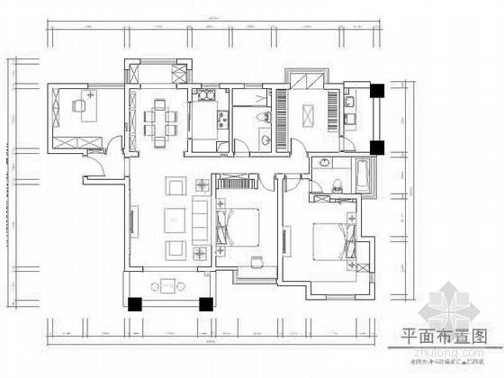 [江苏]国际人文主题中央生活区温馨浪漫美式风格混搭公寓室内装修设计施工图(含效果)