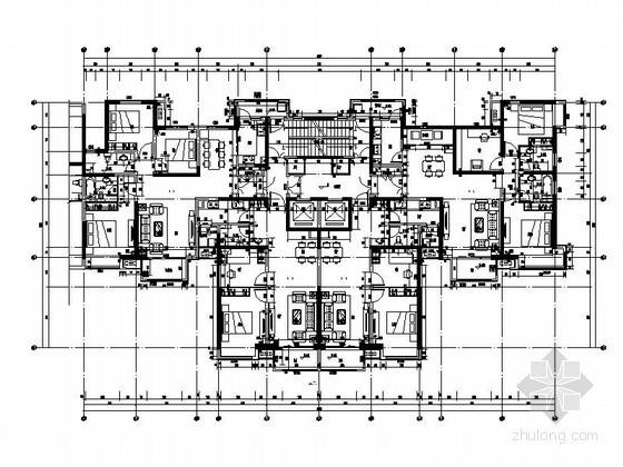 经典高层塔式住宅一梯四户型平面图(含端头户型)