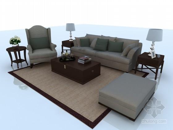 现代欧式沙发茶几3D模型下载