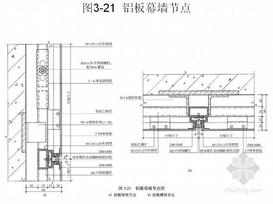 幕墙施工节点做法详图(铝板幕墙、石材幕墙、玻璃幕墙)