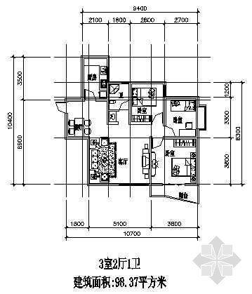三室两厅一厨一卫98.37平方米