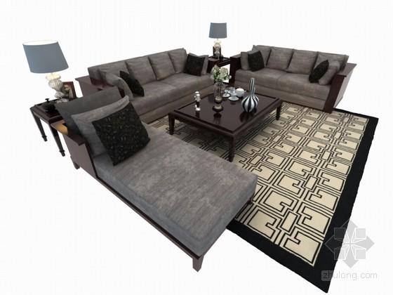 茶几沙发组合3D模型下载