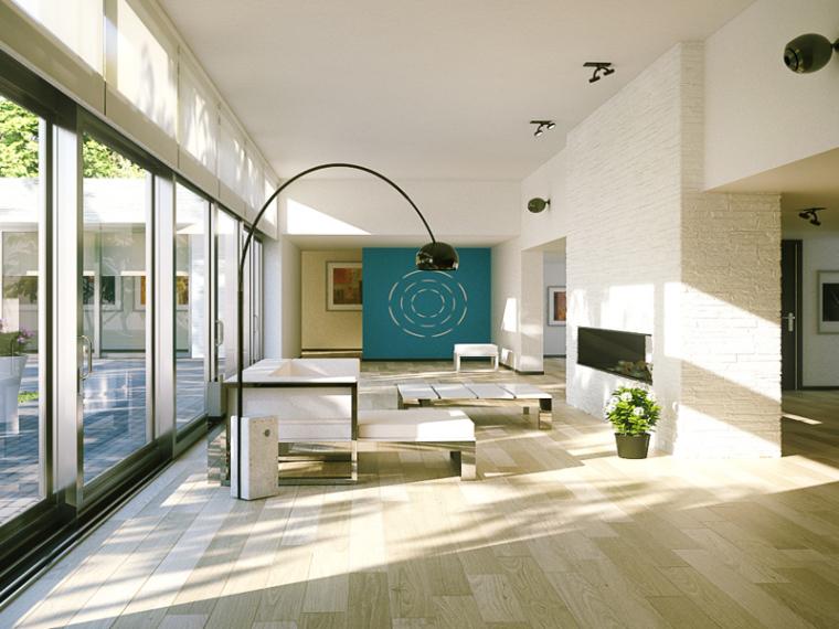 现代别墅客厅3D模型下载