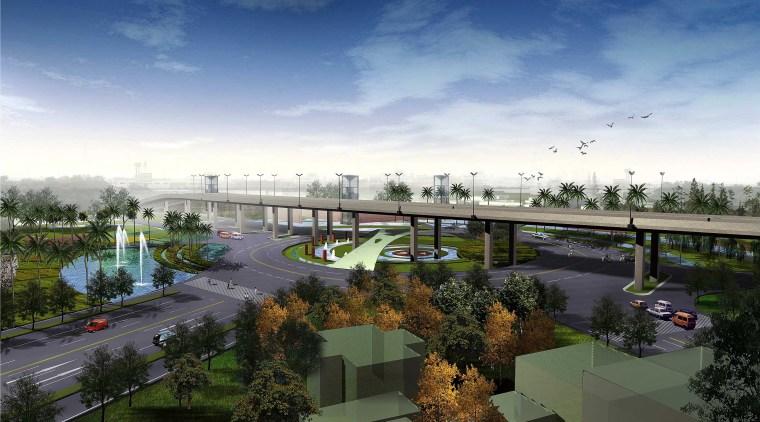 [江苏]苏州市沪宁高速公路西出入口景观规划方案设计(现代风格)-B段透视图2
