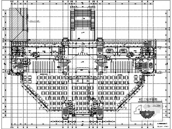 [上海]10层现代风格高校图书馆建筑施工图(知名设计院)-10层现代风格高校图书馆建筑平面图
