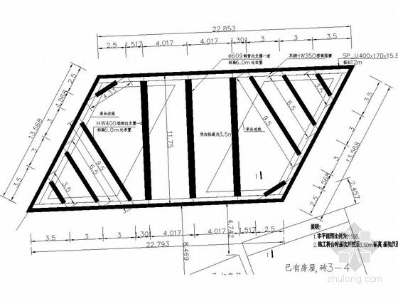 [福建]市政桥梁深基坑U型钢板桩加钢管支撑支护施工图