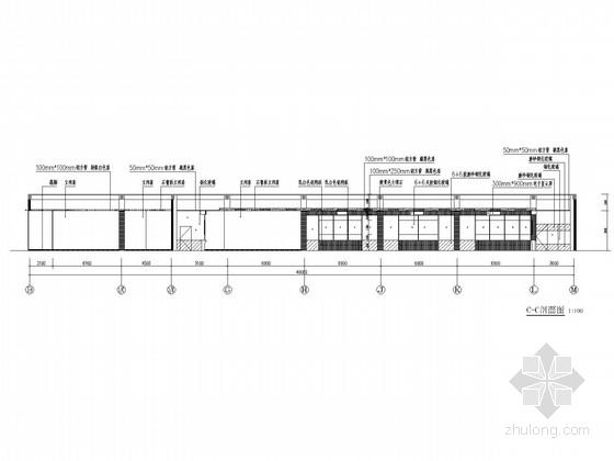 [北京]知名企业现代风格服务大厅室内CAD装修施工图(含效果图) 剖面图