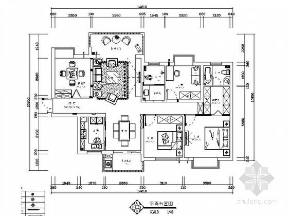 [湖南]欧式奢华复古大户型家装施工图(含效果图)