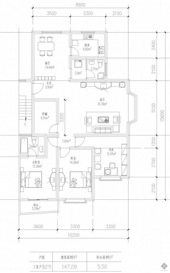 板式多层一梯两户三室一厅二卫户型图(147/147)