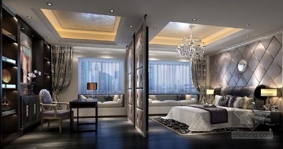 [广东]三居室样板房室内装修设计CAD施工图(含效果)卧室效果图