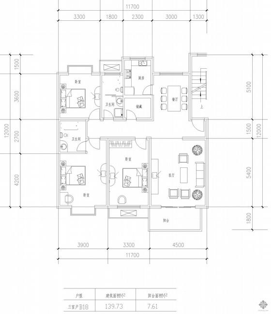 板式多层一梯两户三室一厅二卫户型图(140/140)