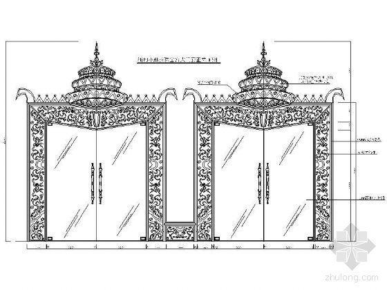 缅甸小勐拉珠宝宫大门正立面图
