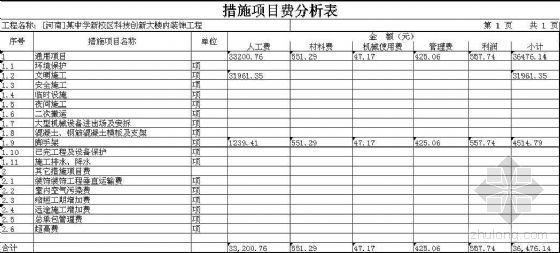 [河南]某中学新校区科技创新大楼内装饰工程清单报价