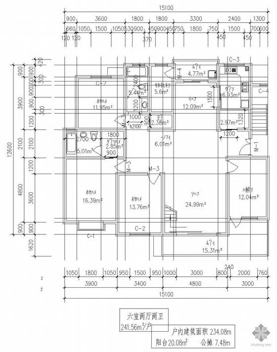 复式一梯二户六室二厅二卫户型图(242/242)