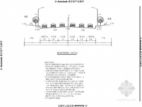 双向六车道市政道路工程施工图设计104张CAD(含交通绿化照明管线)