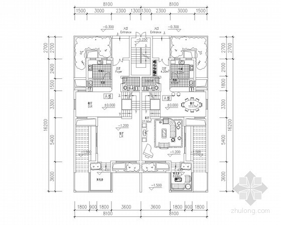 [北京]某五层叠拼别墅户型平面图(192、166平方米)