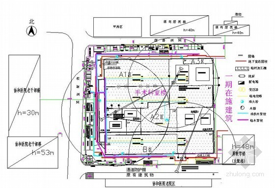 [北京]医院门诊楼及手术科室楼施工平面布置图(基础 结构 装修)