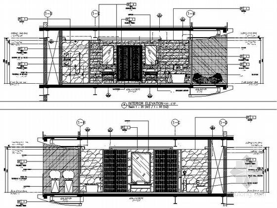 [海南]雅致海滨地带五星级度假酒店客房装修施工图(含全套酒店方案)立面图