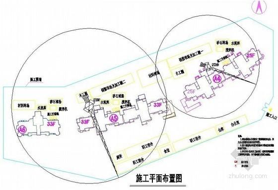 住宅工程施工现场平面布置图(总平面、临水、临电)