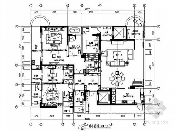 [南京]欧式小两居样板房室内设计CAD施工图