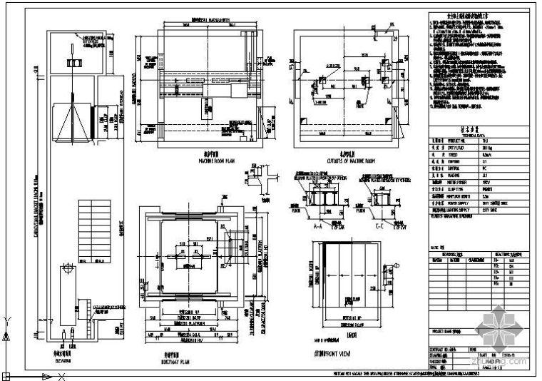 某货梯(THJ3000两轨双通)节点构造详图