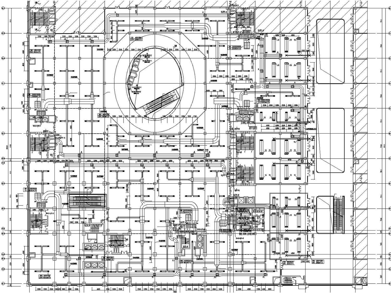 1b#商业-2分区二层空调风管平面图图片