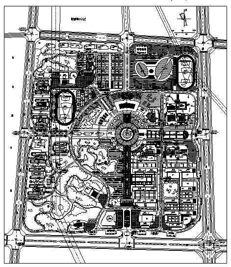 韦德娱乐1946老虎机_40套大学校园规划总平面图CAD方案图纸_5
