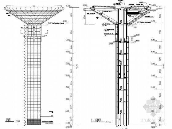 49米高体育中心景观塔结构施工图(含建筑图 18吨消防水箱)