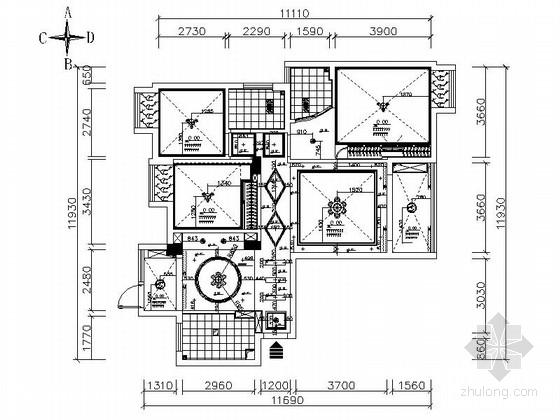 精品详细现代风格三居室室内装修施工图
