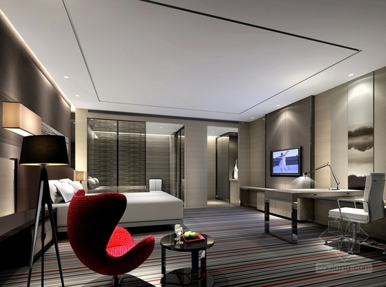 [福建]四星级现代温泉酒店室内装修设计方案标准客房效果