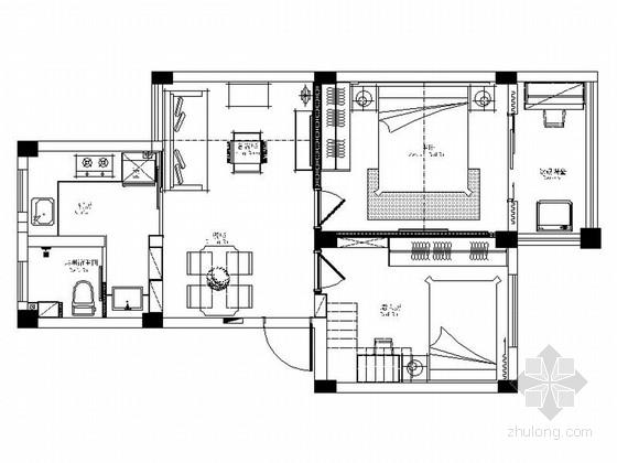 [安徽]精品现代风格两居室室内装修施工图(含效果)
