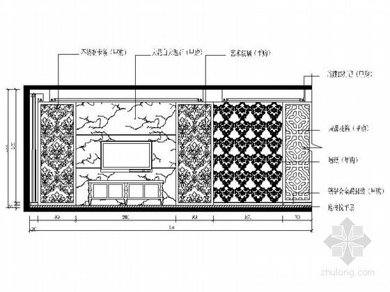 [杭州]两室两厅温馨小户型室内装修施工图(含效果图) 客厅立面