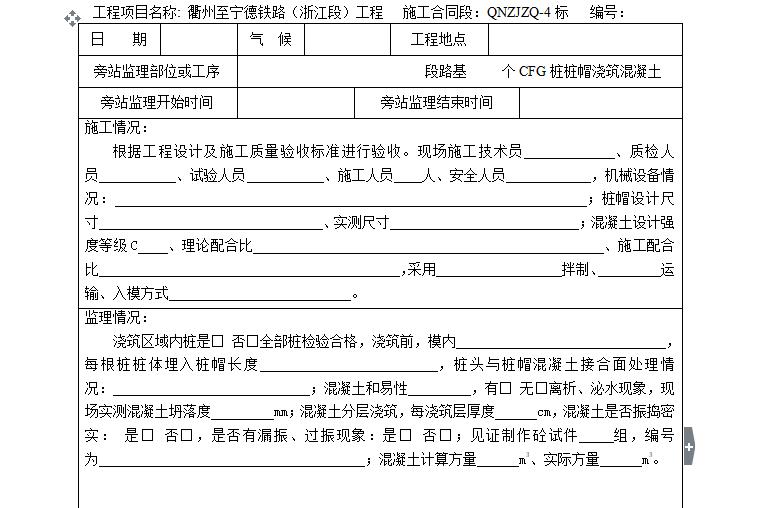 [旁站记录]CFG桩桩帽浇筑砼旁站监理记录表