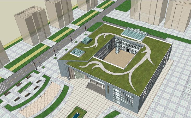 某大学图书馆建筑设计方案sketchup模型