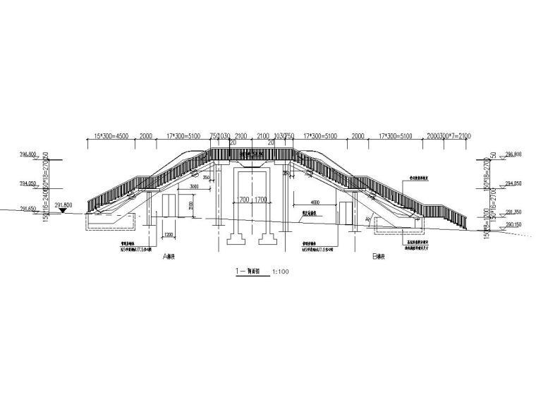 儿童医院钢结构人行天桥建筑结构施工图