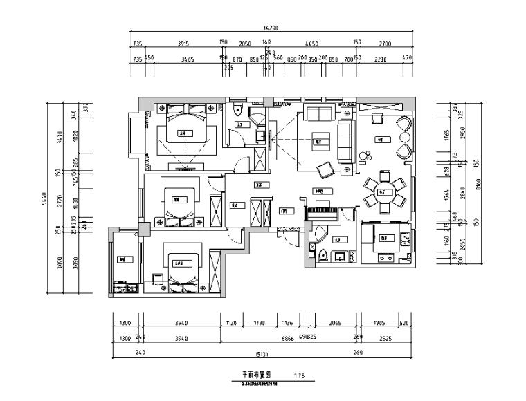 美式现代风格三居室住宅设计施工图(附效果图)