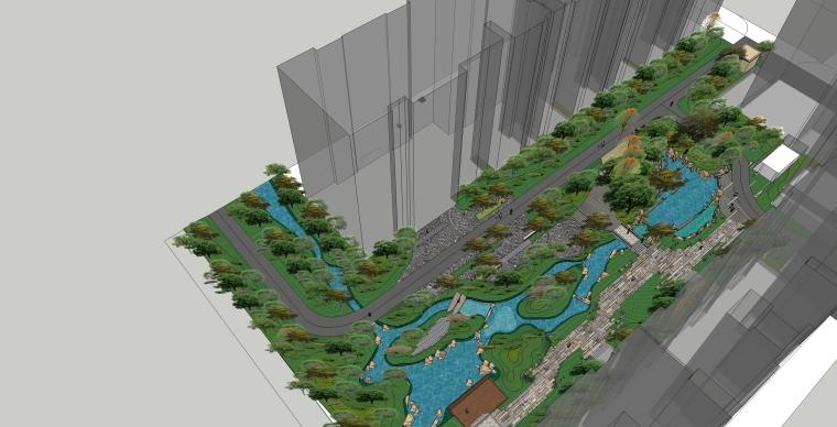 居住区圆形铺装元素su模型(小河道su模型,景观桥su模型)