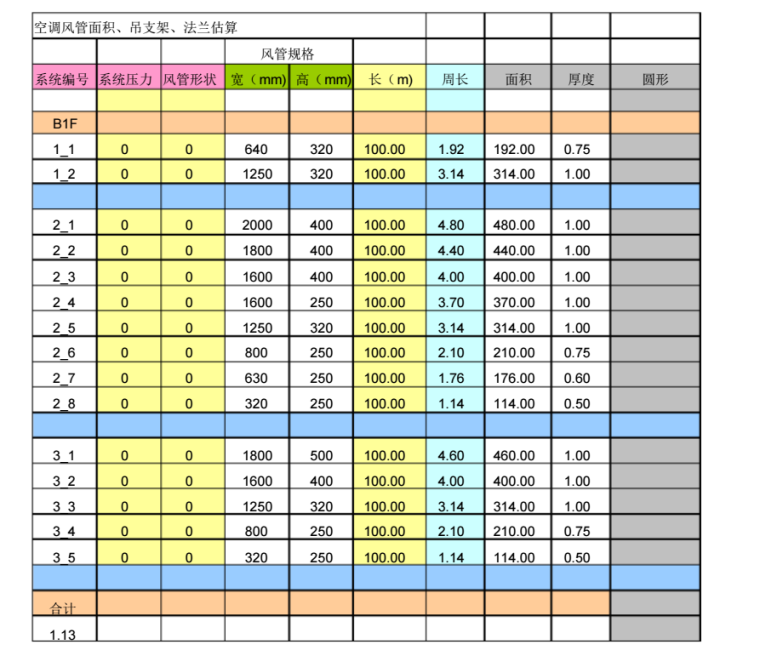 空调风管面积及支架法兰计算
