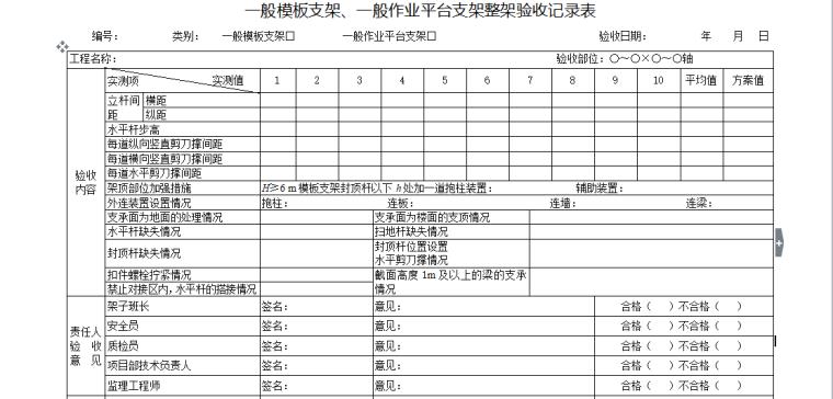 一般模板支架、一般作业平台支架整架验收记录表