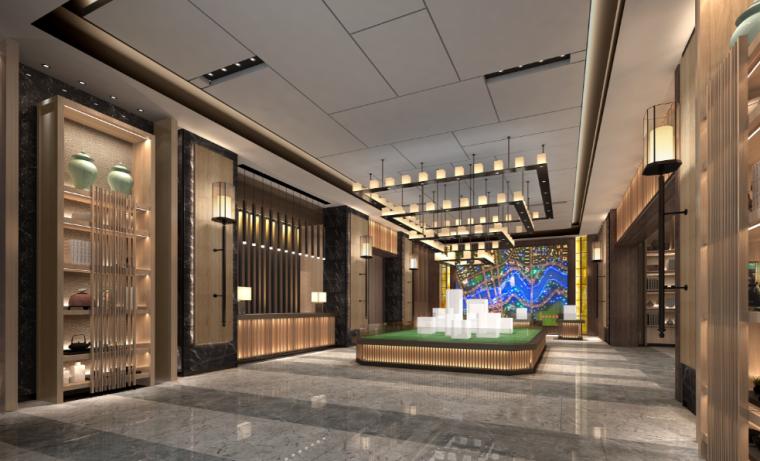 [重庆]现代风格售楼处概念方案设计施工图(附效果图+物料表)-售楼空间效果图