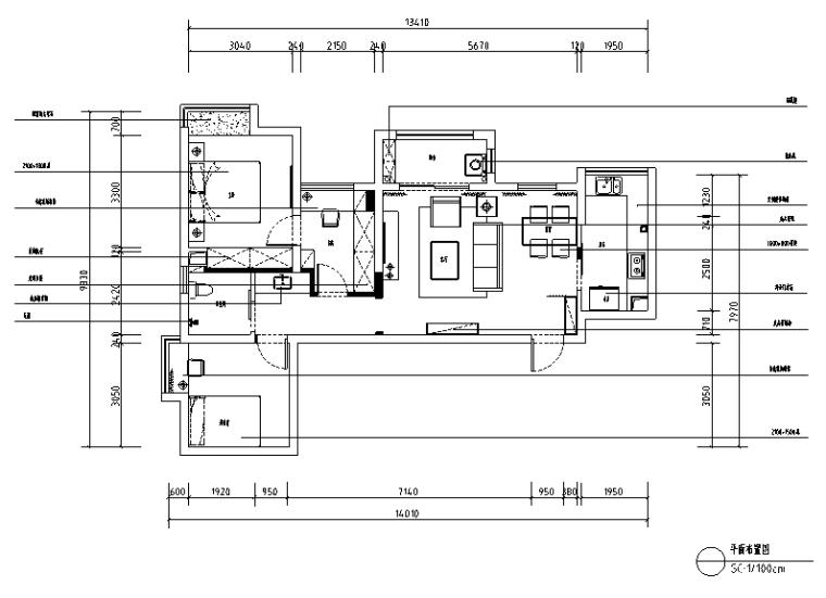 [湖北]欧式田园风格100平米套房住宅设计施工图(附效果图)