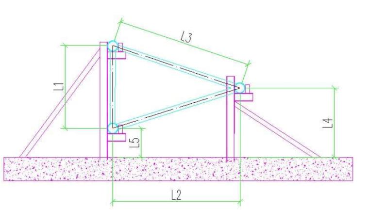 43三角形的桁架拼装胎架剖面图