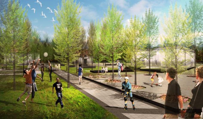 [山西]滨河崖壁生态立体化湿地公园景观设计方案-休闲运动区景观效果图